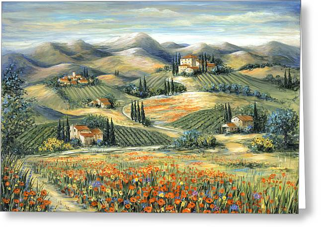 Cypress Greeting Cards - Tuscan Villa and Poppies Greeting Card by Marilyn Dunlap