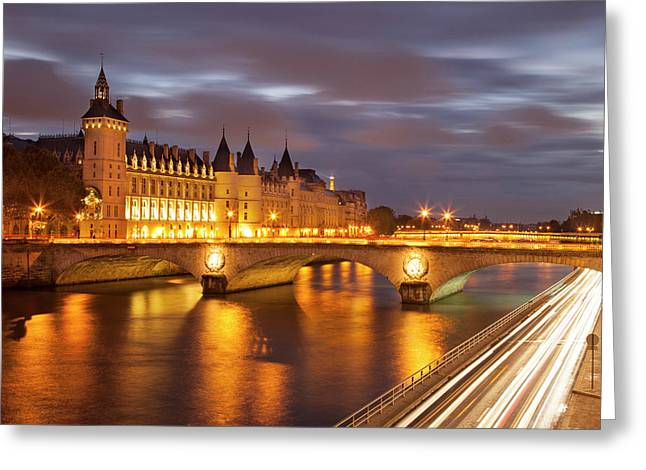 Twilight Over The Conciergerie And Pont Greeting Card by Brian Jannsen