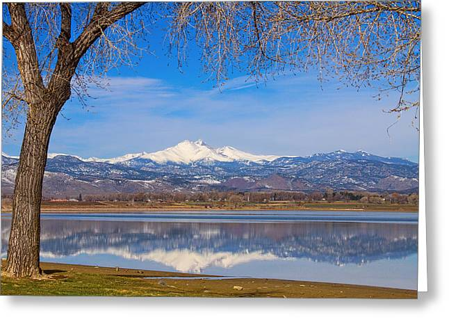 Colorado Mountain Prints Greeting Cards - Twin Peaks Longs and Meeker Lake Reflection Greeting Card by James BO  Insogna