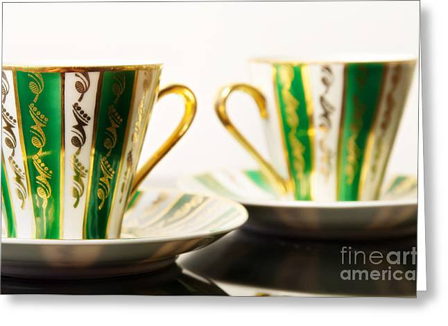 Green Color Ceramics Greeting Cards - Two Coffee Cups Greeting Card by Aleksey Tugolukov