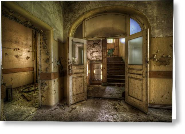 Haunted House Digital Greeting Cards - Two doors Greeting Card by Nathan Wright