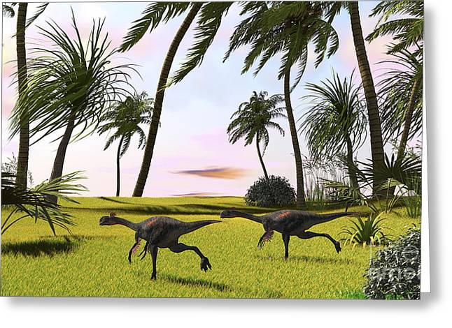 Bird On Tree Greeting Cards - Two Gigantoraptors Running Greeting Card by Kostyantyn Ivanyshen