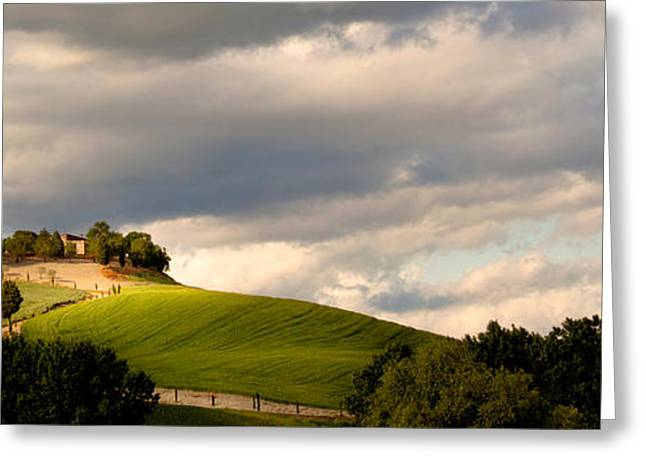 Italian Sunset Greeting Cards - Typical Tuscany Countryside Greeting Card by Hans Slegers
