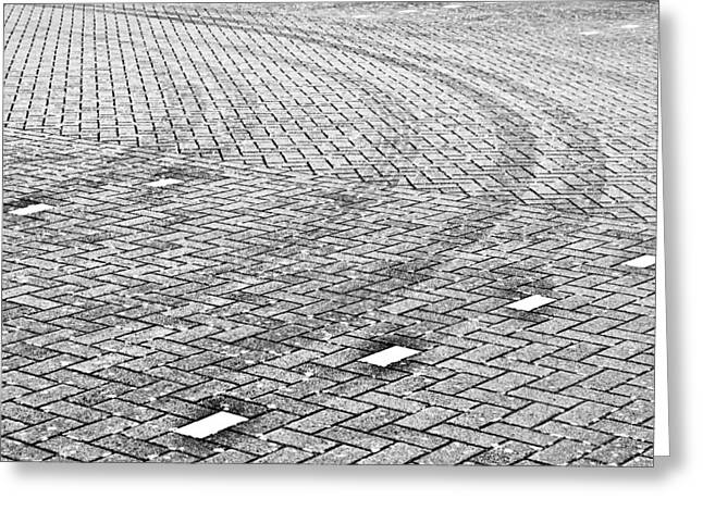 Traces Greeting Cards - Tyre tracks Greeting Card by Tom Gowanlock