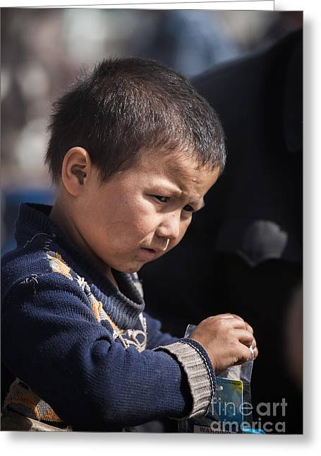 Ethnical Greeting Cards - Uighur child at Kashgar market Xinjiang China Greeting Card by Matteo Colombo