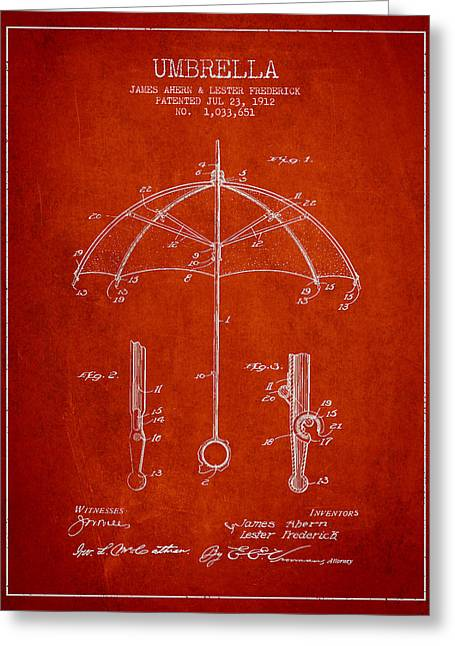 Umbrella Greeting Cards - Umbrella patent Drawing from 1912 Greeting Card by Aged Pixel