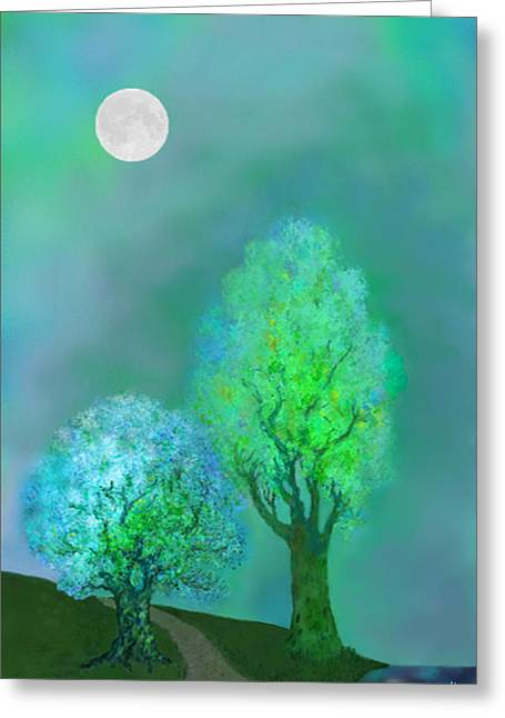 Nature Scene With Moon Digital Art Greeting Cards - unbordered DREAM TREES AT TWILIGHT Greeting Card by Mathilde Vhargon