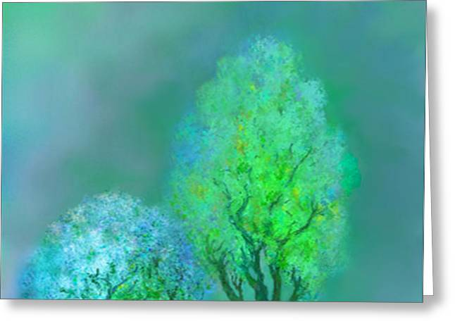 unbordered DREAM TREES AT TWILIGHT Greeting Card by Mathilde Vhargon