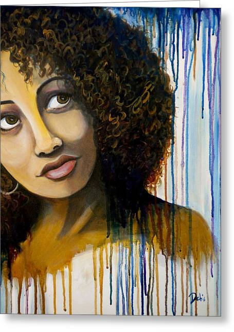 African-americans Greeting Cards - Uncertain Greeting Card by Debi Starr