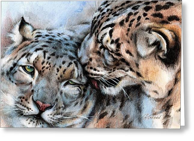 Side View Mixed Media Greeting Cards - Unconditionally Snow Leopards Greeting Card by Christine Karron
