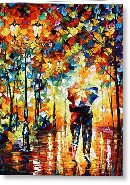 Umbrella Greeting Cards - Under one umbrella Greeting Card by Leonid Afremov