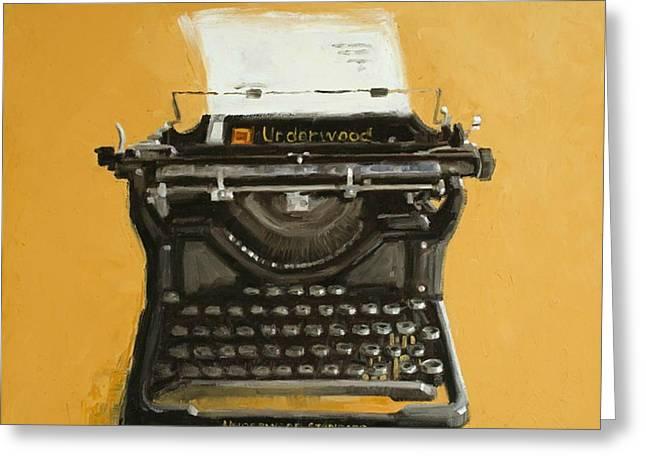 Typewriter Paintings Greeting Cards - Underwood typewriter Greeting Card by Patricia Cotterill