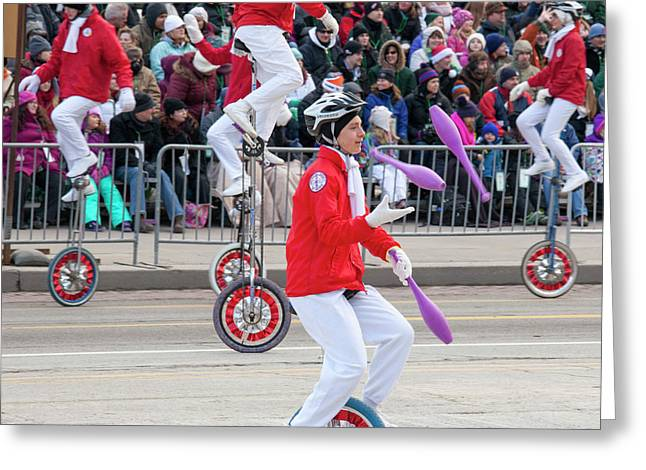 Unicyclists At A Parade Greeting Card by Jim West