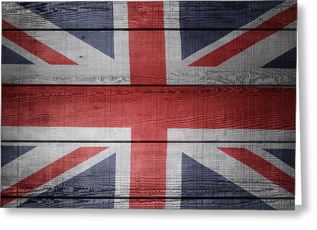 Board Fence Greeting Cards - Union Jack flag  Greeting Card by Les Cunliffe