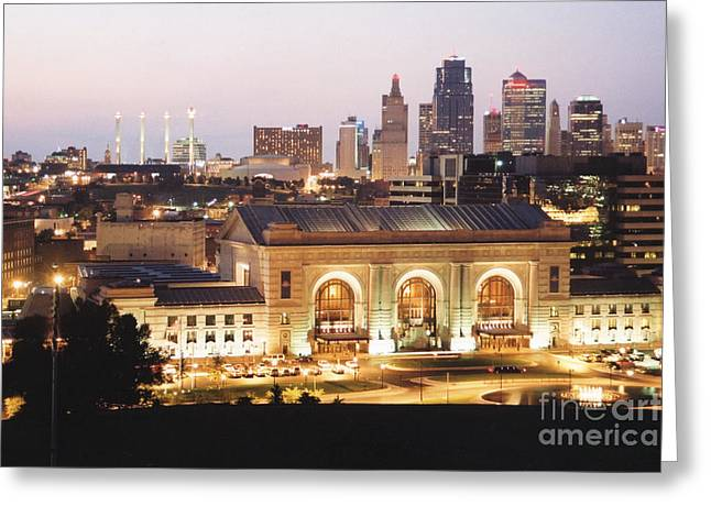 Kansas City Greeting Cards - Union Station Evening Greeting Card by Crystal Nederman