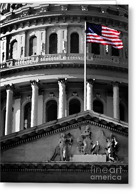 Us Capital Mixed Media Greeting Cards - United State Capitol Building Greeting Card by Lane Erickson