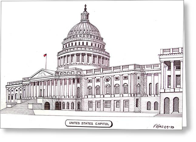 Best Sellers -  - Pen And Ink Drawing Greeting Cards - United States Capitol Greeting Card by Frederic Kohli