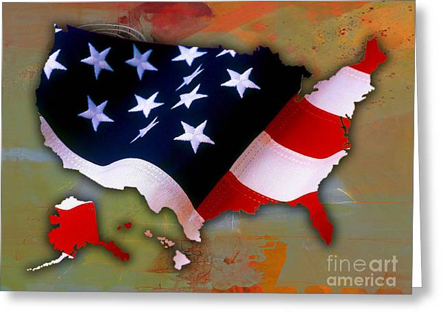 Geography Greeting Cards - United States Map Greeting Card by Marvin Blaine