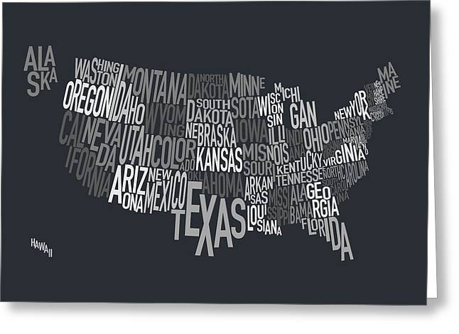 Usa Map Digital Greeting Cards - United States Text Map Greeting Card by Michael Tompsett