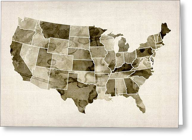 Watercolor Map Greeting Cards - United States Watercolor Map Greeting Card by Michael Tompsett