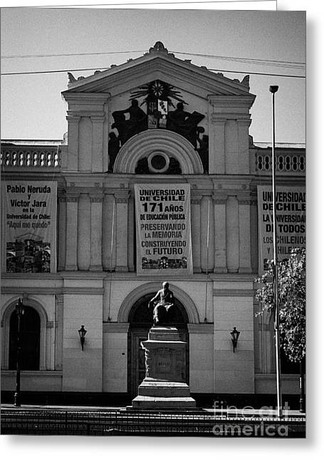 Administrative Greeting Cards - university of chile main building in central Santiago Chile Greeting Card by Joe Fox