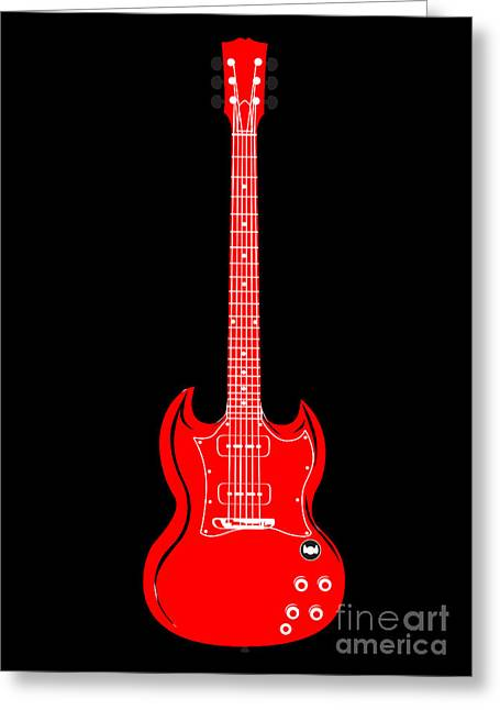 Red Guitar Digital Art Greeting Cards - Untitled No.50 Greeting Card by Caio Caldas