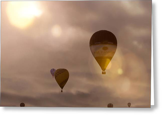 Balloon Fiesta Greeting Cards - Up to the sky Greeting Card by Angel  Tarantella