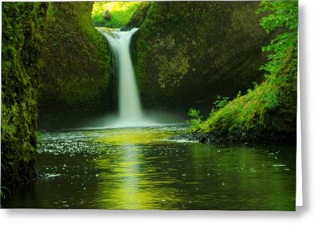 Eagle Creek Greeting Cards - Upper Punch Bowl Falls  Greeting Card by Jeff  Swan