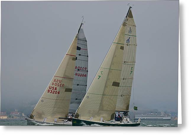 Ocean Landscape Greeting Cards - Upwind on the Bay Greeting Card by Steven Lapkin