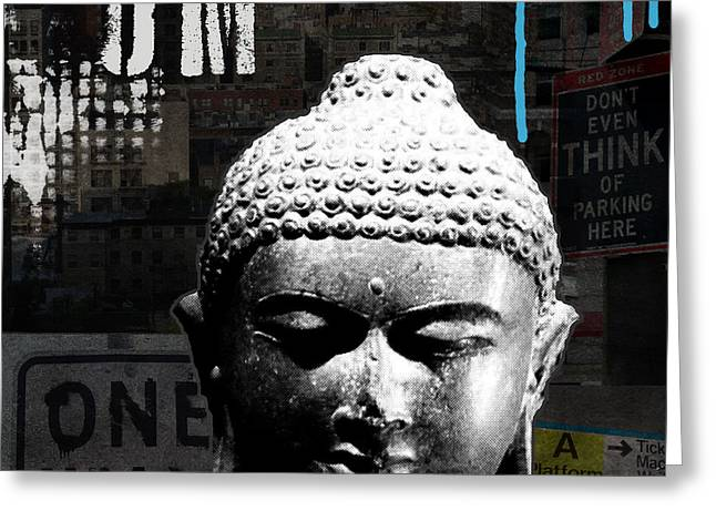 Red Buildings Mixed Media Greeting Cards - Urban Buddha  Greeting Card by Linda Woods