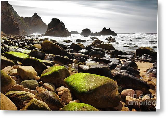 Sunset Abstract Photographs Greeting Cards - Ursa Beach Greeting Card by Carlos Caetano