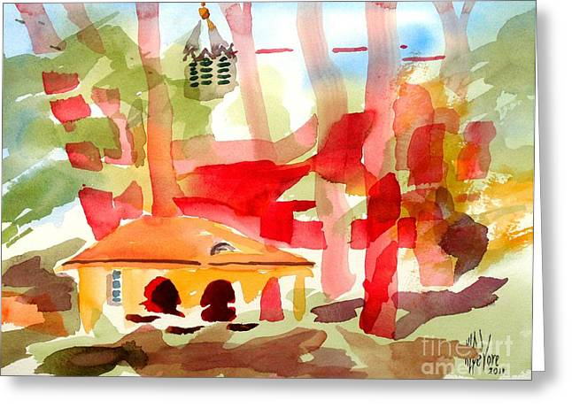 Rural Schools Mixed Media Greeting Cards - Ursuline Impressions II Greeting Card by Kip DeVore