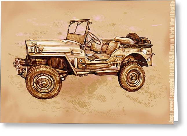 Four-wheel Greeting Cards - US Army Jeep in world war 2 - Stylised modern drawing art sketch Greeting Card by Kim Wang