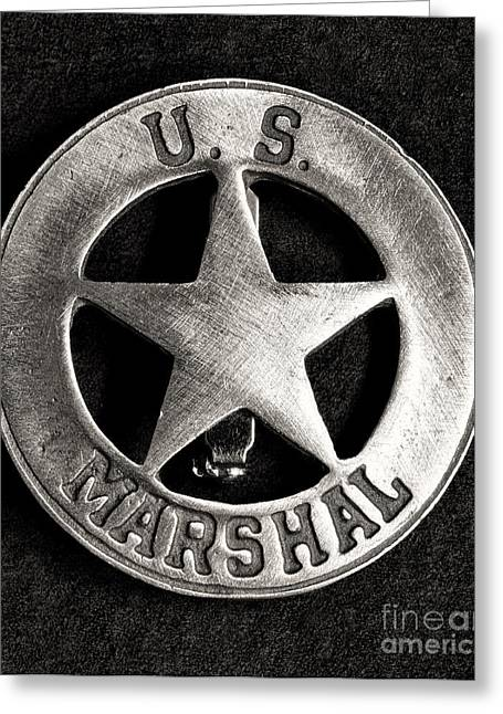 Law Enforcement Greeting Cards - US Marshall - Law Enforcement - Badge Greeting Card by Paul Ward