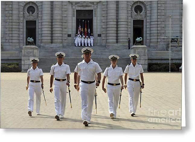 Solidarity Greeting Cards - U.s. Naval Academy Midshipmen Greeting Card by Stocktrek Images