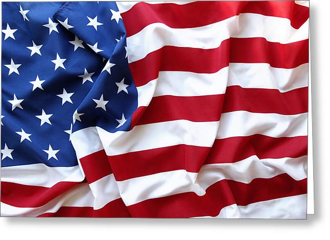 Abstract Waves Photographs Greeting Cards - USA flag Greeting Card by Les Cunliffe