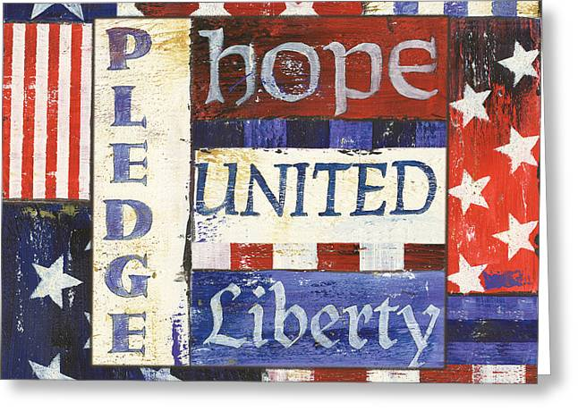 Red White Blue Greeting Cards - USA Pride 1 Greeting Card by Debbie DeWitt