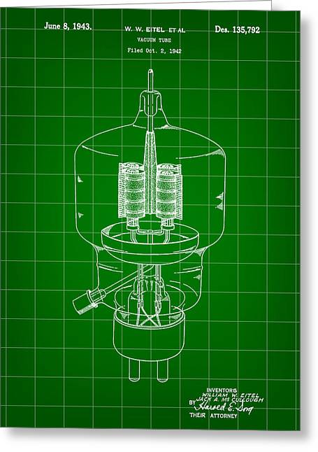 Rectification Greeting Cards - Vacuum Tube Patent 1942 - Green Greeting Card by Stephen Younts