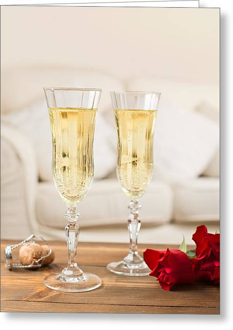 Bubbly Greeting Cards - Valentines Day Champagne Greeting Card by Amanda And Christopher Elwell