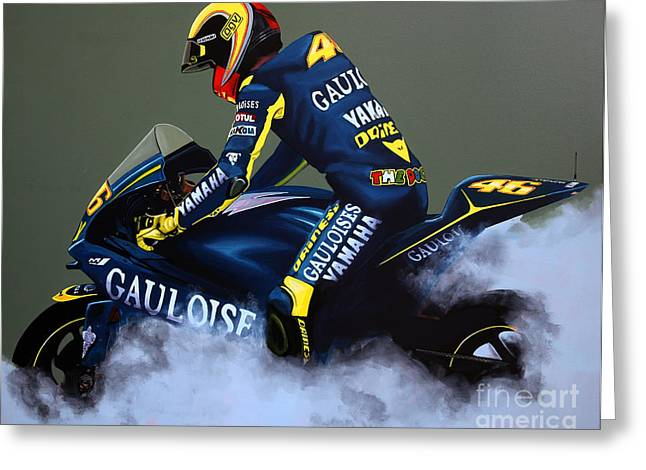 Blue Bike Greeting Cards - Valentino Rossi Greeting Card by Paul  Meijering