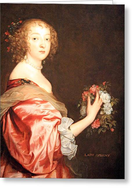 Lady Washington Greeting Cards - Van Dycks Catherine Howard -- Lady DAubigny Greeting Card by Cora Wandel