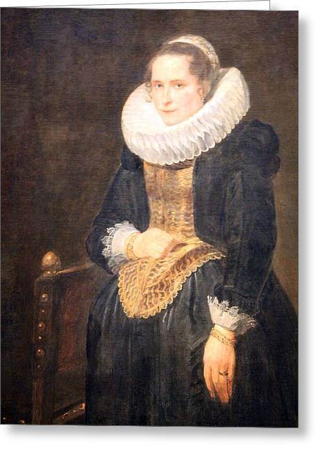 Lady Washington Greeting Cards - Van Dycks Portrait Of A Flemish Lady Greeting Card by Cora Wandel