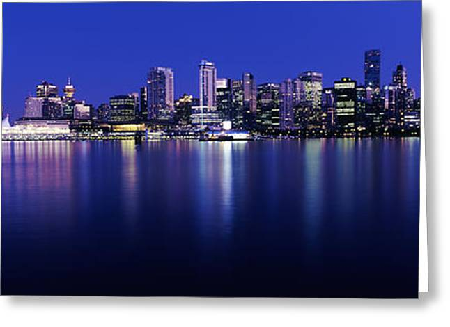 False Greeting Cards - Vancouver Skyline At Night, British Greeting Card by Panoramic Images