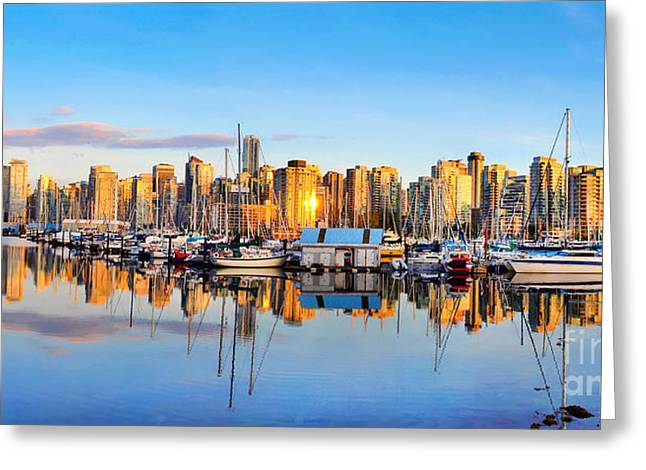 North Vancouver Greeting Cards - Vancouver skyline at sunset Greeting Card by JR Photography