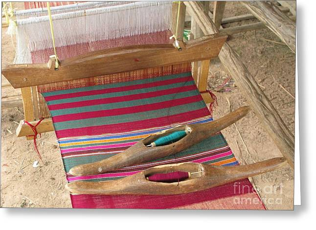 Product Photographs Greeting Cards - Various Threads On Weaving Loom Greeting Card by Bjorn Svensson