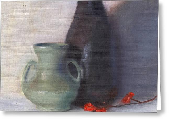 Original Pottery Greeting Cards - 2 Vases Greeting Card by Elizabeth B Tucker
