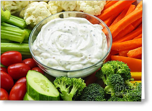 Dipping Greeting Cards - Vegetables and dip Greeting Card by Elena Elisseeva