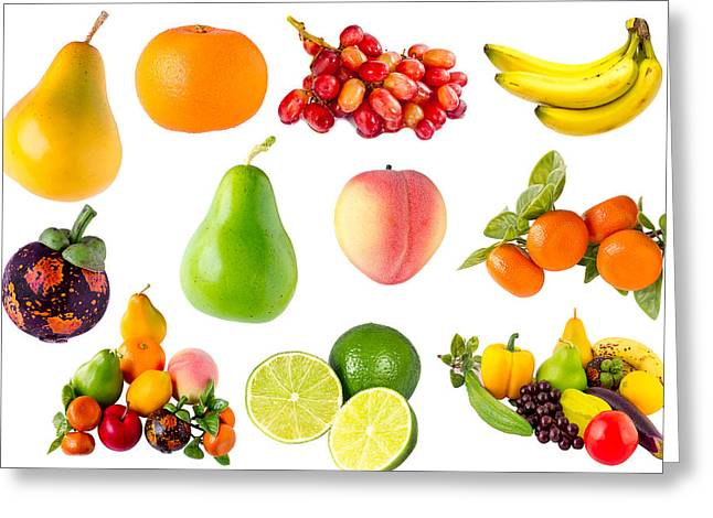 Mangosteen Greeting Cards - Vegetables and fruits Greeting Card by Henry MM