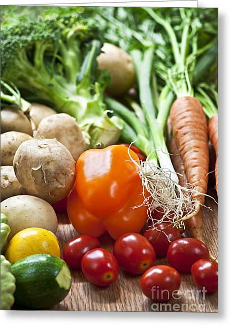 Organic Photographs Greeting Cards - Vegetables Greeting Card by Elena Elisseeva