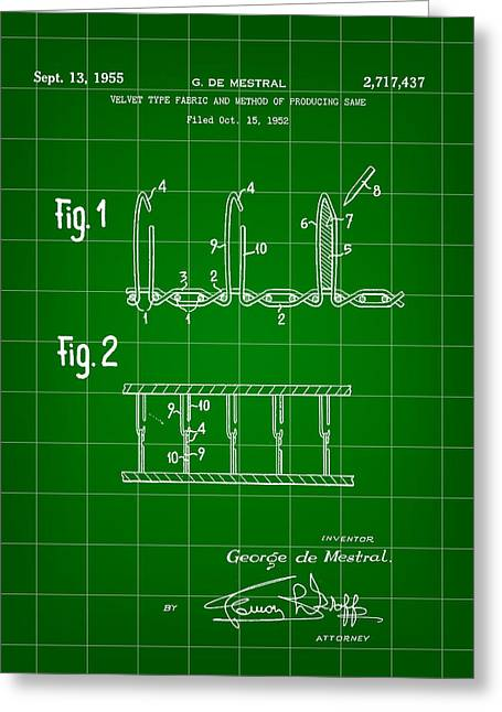 Velcro Patent 1952 - Green Greeting Card by Stephen Younts
